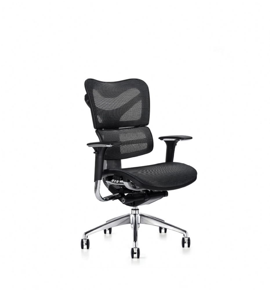 V46 Mesh Seat Chair By Hood Seating In Black With Stylish Chrome Spider Base On Castors